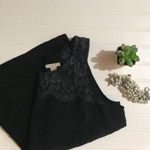 J. Crew Tops - J. Crew Black Lisette Lace Shell Silk Blouse - 10